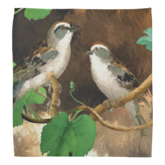 Birds on Branches Nature Abstract Fashion Bandana