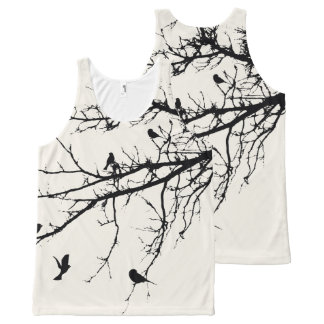 Birds on Branches Silhouette All-Over Print Tank Top
