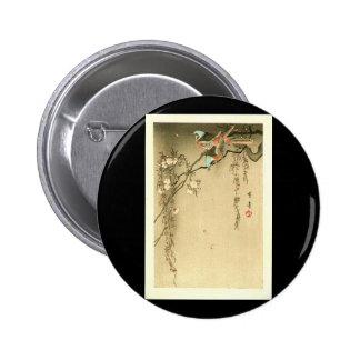 Birds on Cherry Tree by Seitei Watanabe 1851- 1918 6 Cm Round Badge