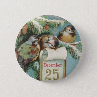 Birds on Decemeber 25th 6 Cm Round Badge