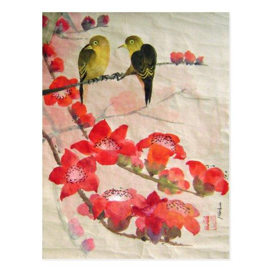 birds on flora tree postcard