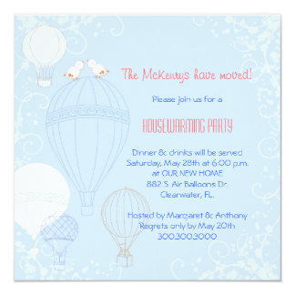 Birds on Hot Air Balloons Housewarming Party Card