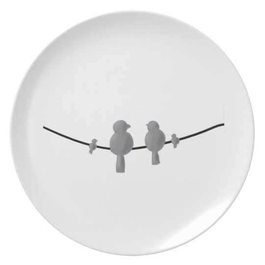 birds on line melamine plate