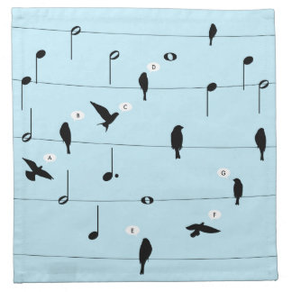 Birds On Music Wires Heart Cloth Napkins