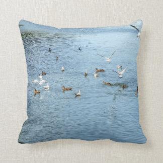 Birds On Summer River Cushion