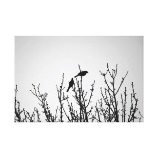 Birds on Tree Top Black and White Stretched Canvas Prints