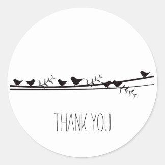 Birds on Vine Thank you Round Sticker