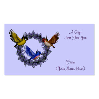 Birds On Wreath Personalized Gift Card Tag Business Card