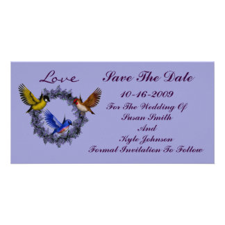 Birds On Wreath Wedding Save The Date Photo Cards