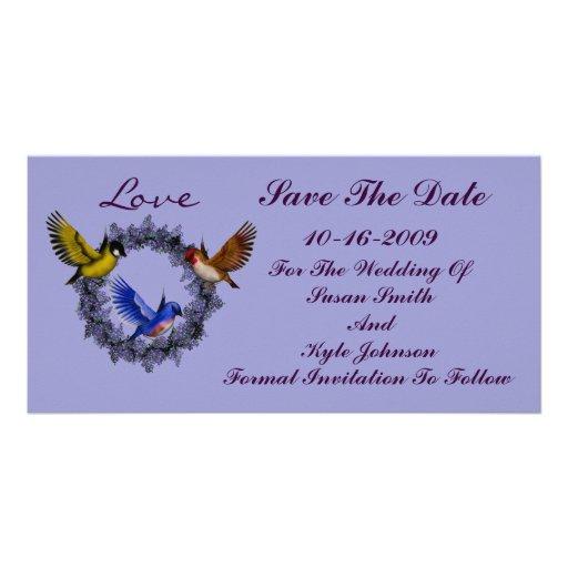 Birds On Wreath Wedding Save The Date Photo Cards
