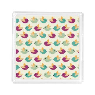 Birds pattern acrylic tray