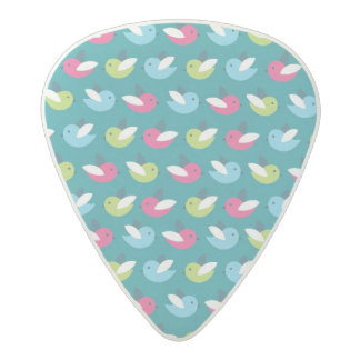 Birds pattern Blue Acetal Guitar Pick