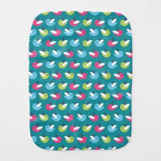 Birds pattern Blue Burp Cloth