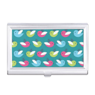 Birds pattern Blue Business Card Holder