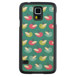 Birds pattern Blue Carved Maple Galaxy S5 Case