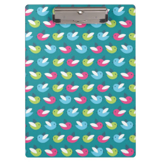 Birds pattern Blue Clipboard
