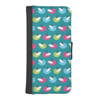 Birds pattern Blue iPhone SE/5/5s Wallet Case