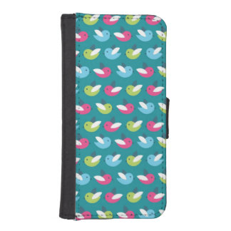 Birds pattern Blue iPhone SE/5/5s Wallet Case