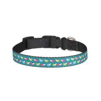 Birds pattern Blue Pet Collar