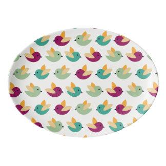 Birds pattern porcelain serving platter