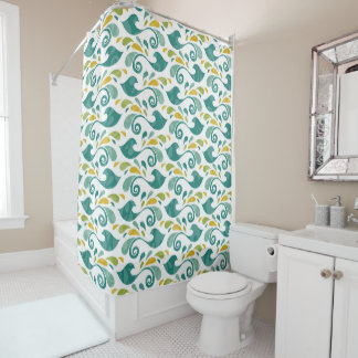 Birds pattern shower curtain
