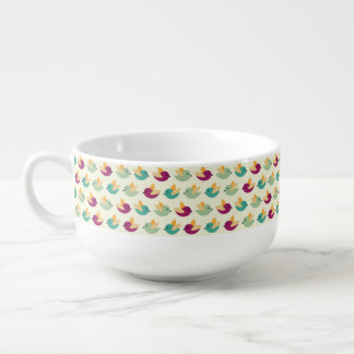 Birds pattern soup bowl with handle