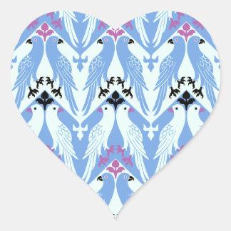 Birds Pattern - Vintage Victorian Pattern - Girly Heart Sticker