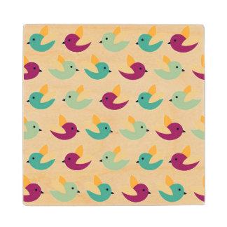 Birds pattern wood coaster