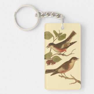 Birds Perched on Branches Eating Insects Double-Sided Rectangular Acrylic Key Ring