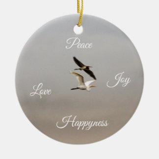 Birds Photo Peace Joy Love Happiness Christmas Ornament