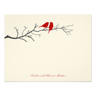 Birds Silhouettes Thank You Cards - Red - Invitations