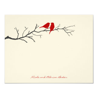 Birds Silhouettes Thank You Cards - Red - 11 Cm X 14 Cm Invitation Card