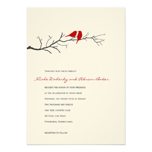 Birds Silhouettes Wedding Invitation - Red - Personalized Invites