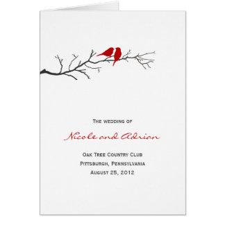 Birds Silhouettes Wedding Program Card