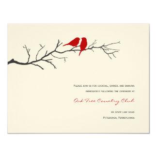 Birds Silhouettes Wedding Reception Cards - Red - 11 Cm X 14 Cm Invitation Card