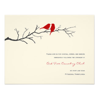 Birds Silhouettes Wedding Reception Cards - Red - Personalized Invitation