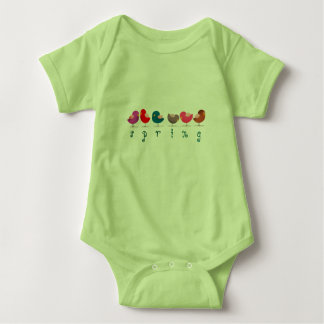 Birds Spring Cute Cartoon Colorful Bright Cheerful Baby Bodysuit