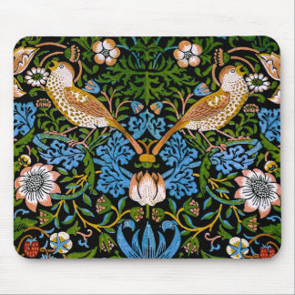 Birds & Strawberries William Morris Fine Art Mouse Pad