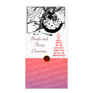 BIRDS TREE AND CHRISTMAS LADY Black White Red Gem Photo Card Template