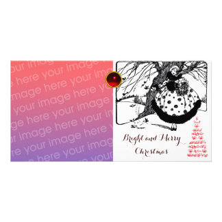 BIRDS TREE AND CHRISTMAS LADY Black White Red Gem Photo Cards