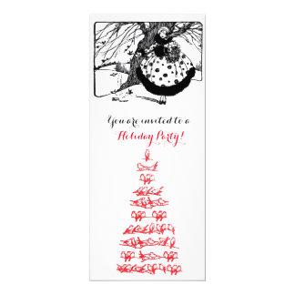 BIRDS TREE,CHRISTMAS LADY Black White Gem Red Card
