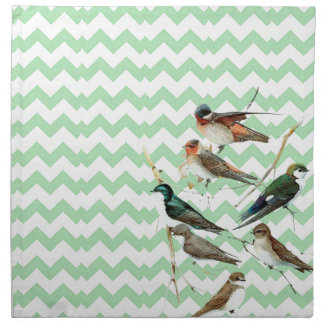 Birds vintage, colors pie, chevron green cloth napkins