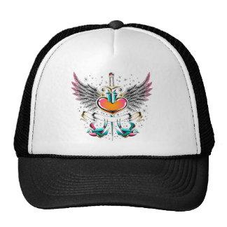 Birds wings heart sword tattoo cap