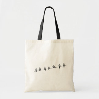 Birds wire pigeons tote bag