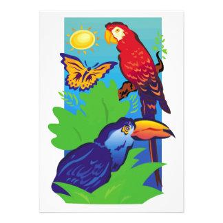 Birds with a Tropical Flair Custom Invitations
