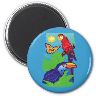 Birds with a Tropical Flair Fridge Magnet