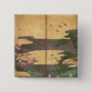 Birds with Autumn and Winter flowers 15 Cm Square Badge