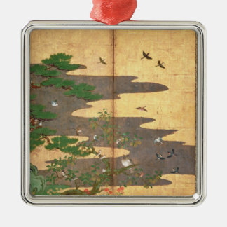 Birds with Autumn and Winter flowers Christmas Ornament