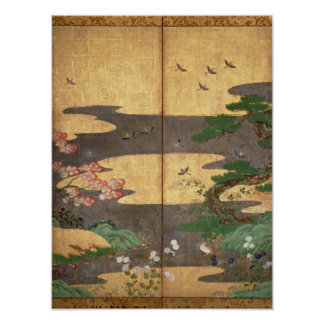 Birds with Autumn and Winter flowers Poster