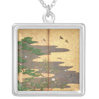 Birds with Autumn and Winter flowers Silver Plated Necklace